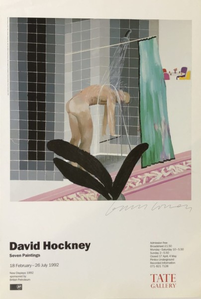 David Hockney, Hand Signed 'Man in Shower in Beverly Hills' , 1992