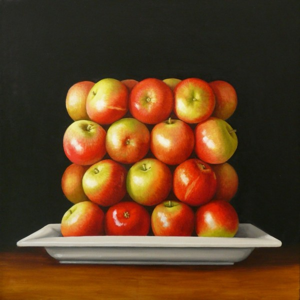 Antonia Williams  Red Square Apples  Oil on canvas  76 x 76 cm