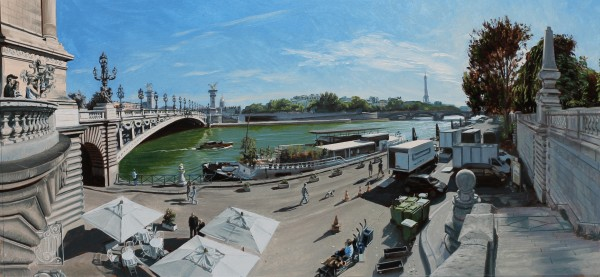 David Wheeler 'Study: A Stroll by the Seine (Late Afternoon Paris)' Oil on paper 18 x 40 cm
