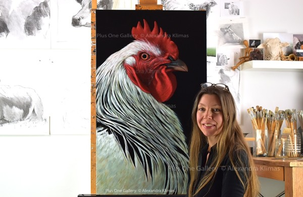 Charlie The Rooster Iii 100X60Cm Oil On Canvas Alexandra Klimas Atelier