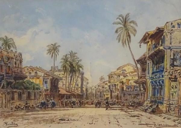 32. Eduard Hildebrandt , Strasse in Bombay, c. 1865