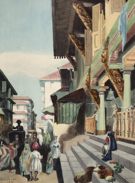 43. E. Cardnell, A busy street scene, 19191