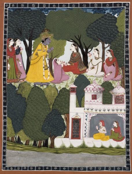A remorseful Krishna approaches Radha