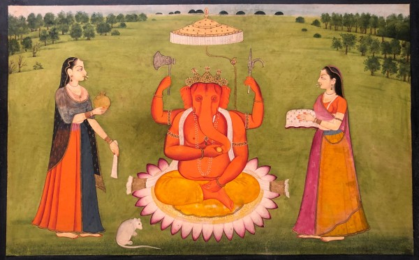 Lord Ganesha attended by his Consorts