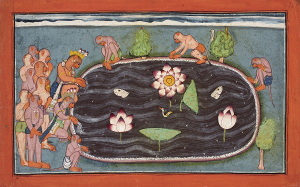 SUGRIVA AND HIS MONKEY RETINUE POUR WATER INTO A HOLY LAKE