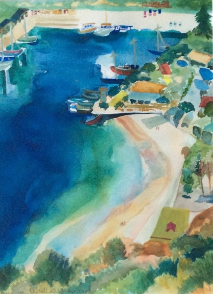 Jane Bednall Above Kalkan, Turkey watercolour £350