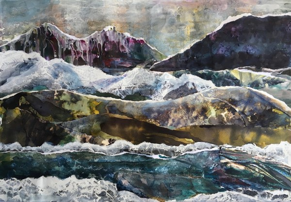 Suzsi Corio Sugar Mountain watercolour, ink & gesso collage £550