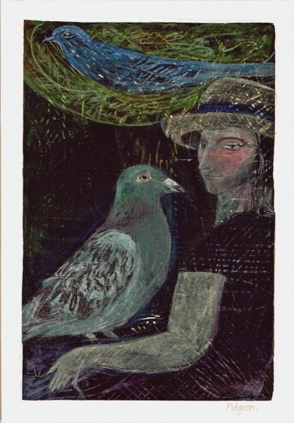Jill Feld Pigeon tempera £1000 Winner of the David Gluck & RWS Award