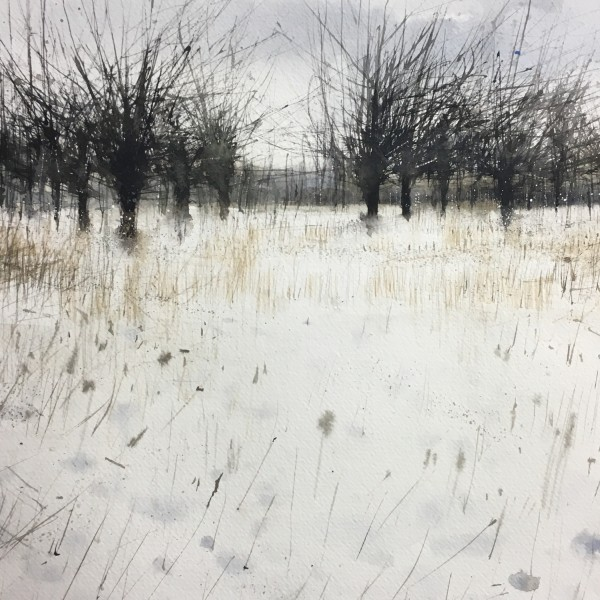 Paul Fowler Cherry Orhcard in the Snow watercolour £500