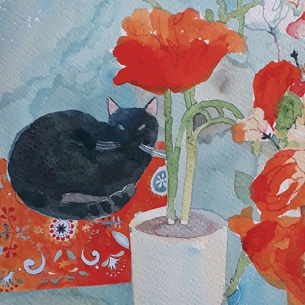 Nicola Gregory Cat on a Mat watercolour £320