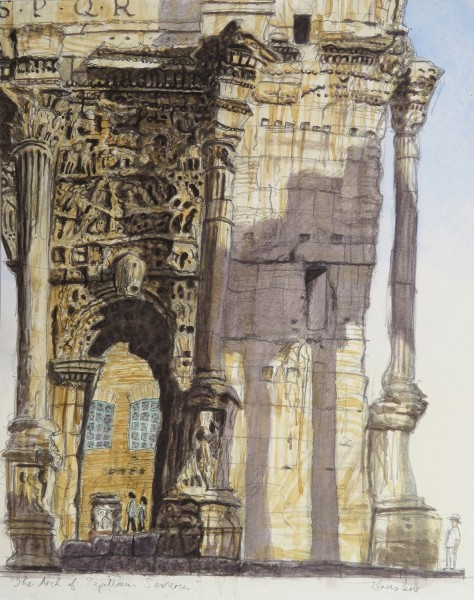 Brendan Hansbro The Arch of Septimus Severus, Rome watercolour £595