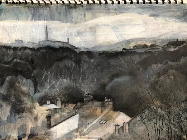 Meg Huby Across the Valley to Cowbar gesso, graphite & watercolour £420 Winner of the Seawhite Art Materials Prize