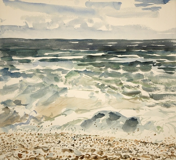 Janet Johnson Bouncing Pebbles in Surf Chesil Beach watercolour £800