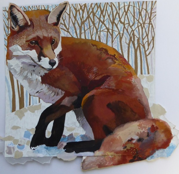 Elizabeth McCrimmon A Fox Jumped Out mixed media £350 Winner of the Dry Red Press Prize