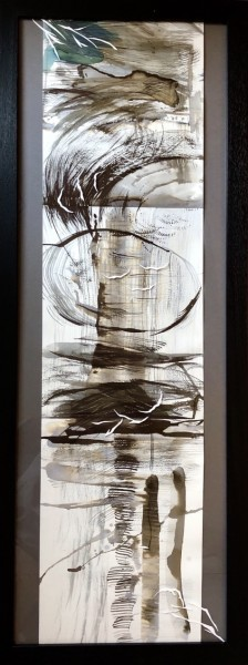 Sumi Perera AL-GO(RE)-RI(HY)THMS OF LIFE-An Inconvenient Truth or a Convenient Lie?[III] calligraphic & hydrochromic ink £990