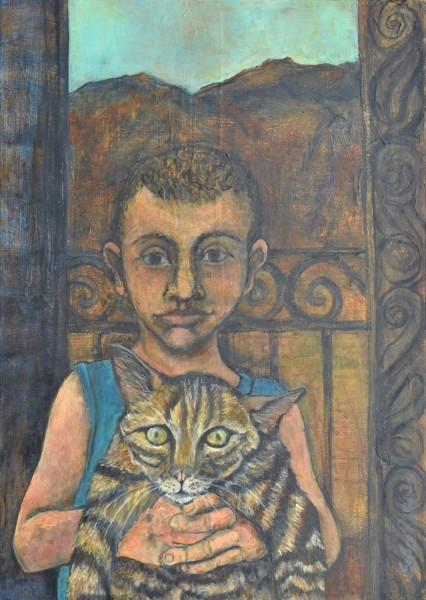 Sula Rubens Boy Holding His Cat watercolour & acrylic £875