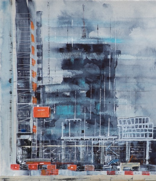 Linda Saul Reflection in Canary Wharf Construction mixed media £800