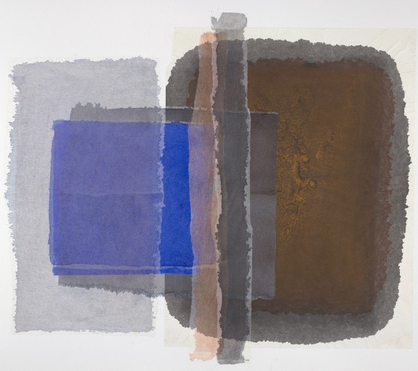 Kate Scott Cobalt and Rust watercolour collage £890 Winner of the St Cuthbert's Mill Prize