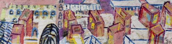 Tamara Tolley Barbican Centre Roof Panorama and St. Giles acrylic £1500 Winner of the Cass Art Solo Show Award
