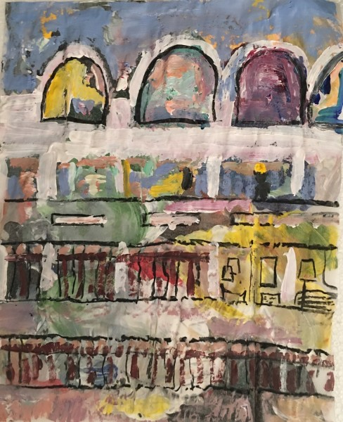 Tamara Tolley Early Evening, Frobisher Crescent, Barbican acrylic & charcoal £500 Winner of the Cass Art Solo Show Award
