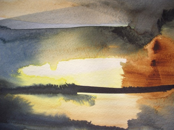 Robert Verrill Sunset After the Storm watercolour £275