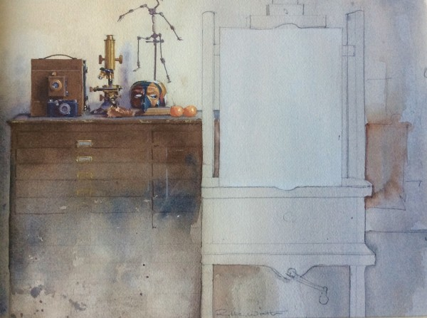 Robbie Wraith Studio Interior watercolour £2450