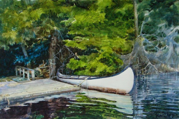 Fan Zhang Boat Dock on Red Stone Lake watercolour £2000
