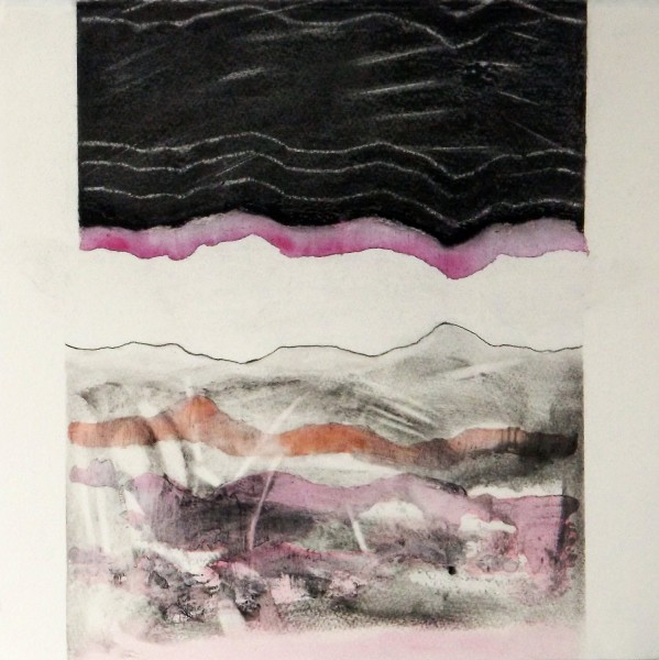 Bonnie Brown Shoreline Meanderings Magenta & Orange acrylic ink, liquid charcoal & graphite £500