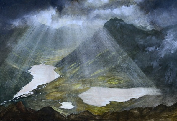 Gary Groucutt Sun Rays over Tryfan watercolour & gouache £475