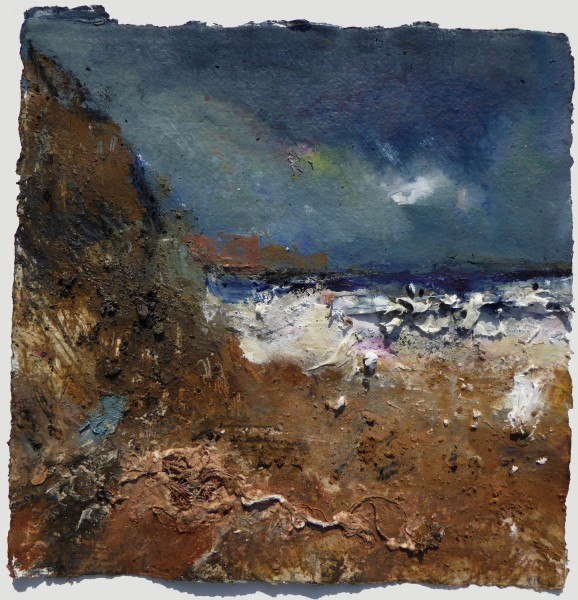 Frances Hatch Fly Away Waves, Eype, Dorset site earths, litter & gouache £720