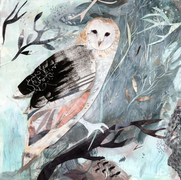 Emma Malfroy Owl gouache, acrylic ink & collage £380
