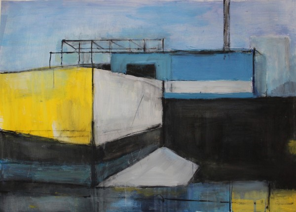 Olivia O'Sullivan Recycling Plant from Train SE14 acrylic £450