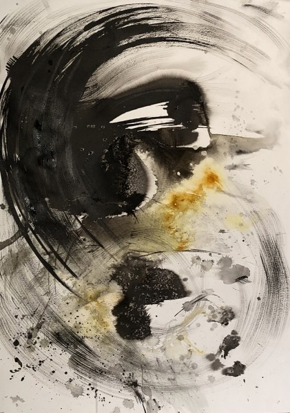 Sumi Perera Phoenix rises from the Ashes watercolour, ash, charcoal & turmeric £500
