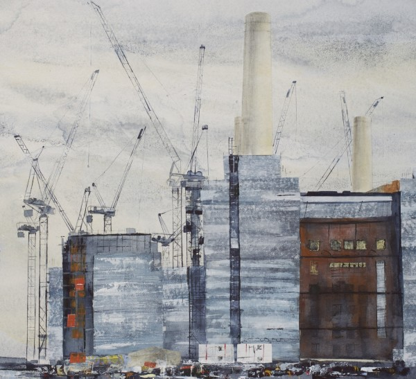 Linda Saul Battersea Dance watercolour, acrylic & collage £1100