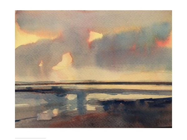 Lucinda Storm Lemon Sunset, Saunton Sands, Devon watercolour £400
