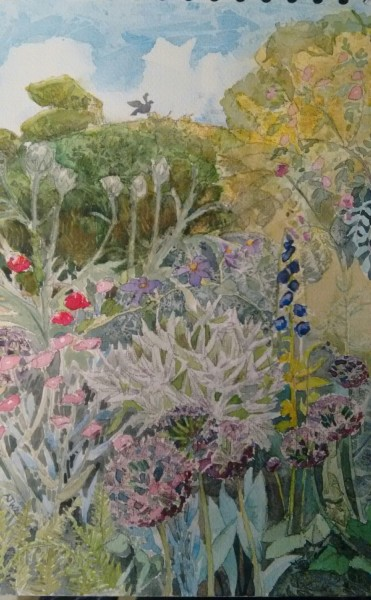 Alison Warner Perennial Border and Yew, Great Dixter charcoal & watercolour £400