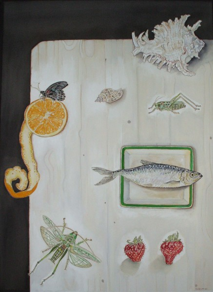 Linda Douthwaite, Still Life with Orange and Crickets