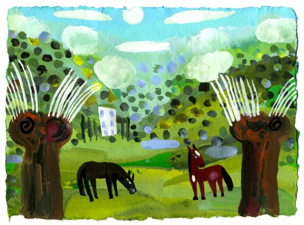 Christopher Corr, exhibitor in 2020 Horses in the Cevennes gouache