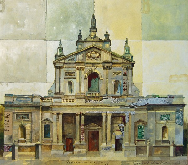 Stuart Robertson The Brompton Oratory watercolour, gouache & collage