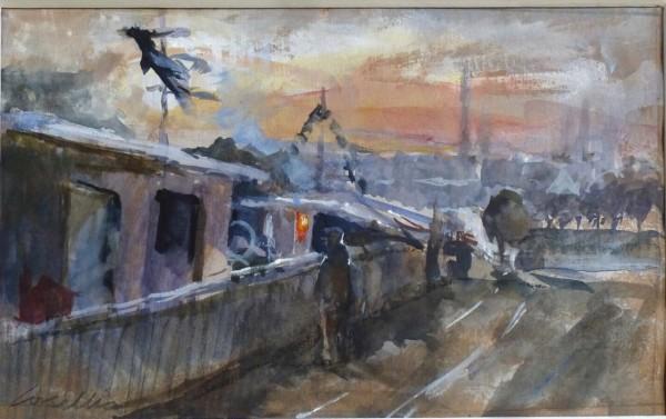 Jane Corsellis, Winter Evening, Houseboats, Chiswick