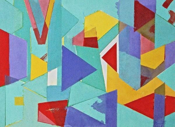Geoffrey Pimlott, Untitled Coloured Shapes Over Blue