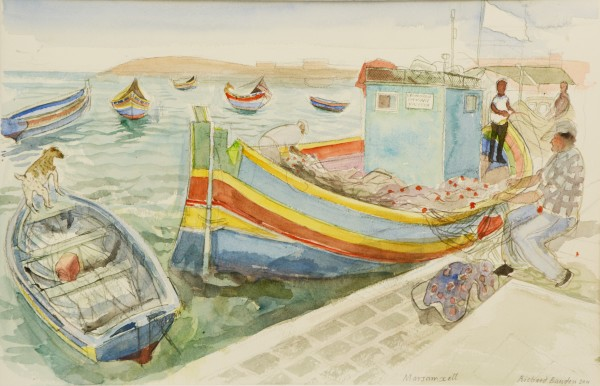 Richard Bawden, Fishing Boats at Marsaxlokk