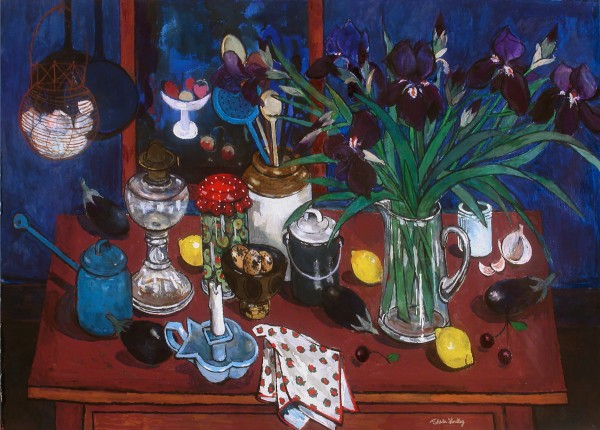 Sheila Findlay, Irises, Aubergines, Olives