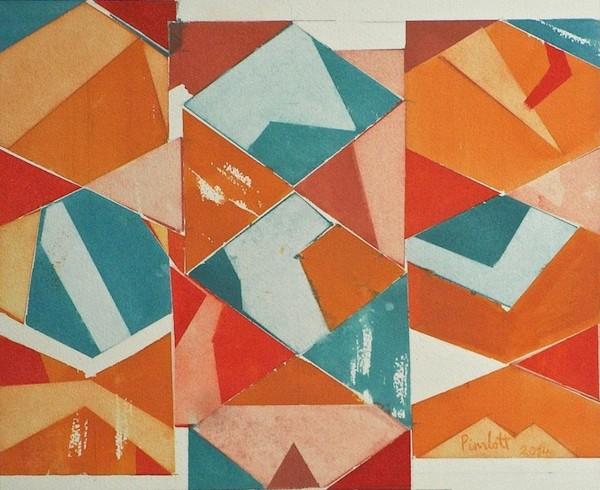 Geoffrey Pimlott, Vertical Triptych in Red and Blue
