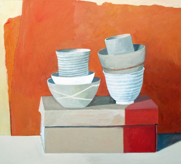 Wendy Jacob, Six Stacked Bowls on a Shoebox