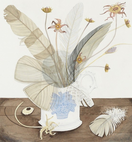 Angie Lewin, New Town Cup with Feather and Seaweed