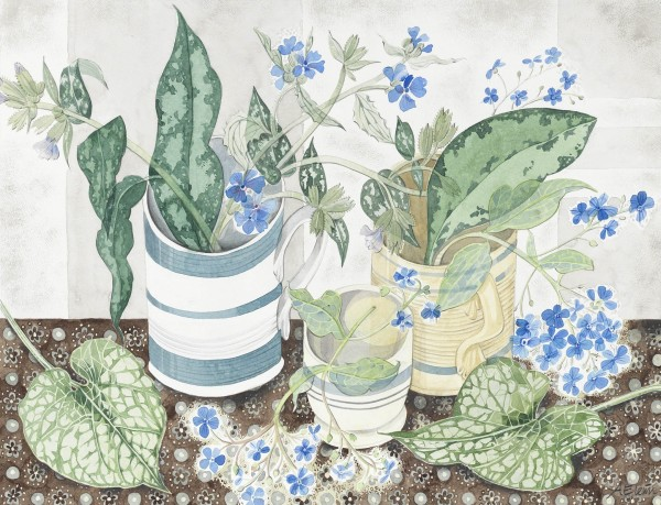 Angie Lewin, Striped Cups with Spring Flowers