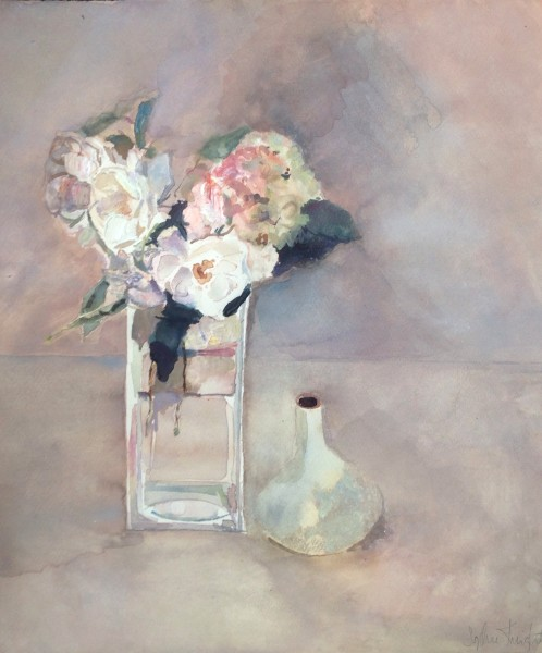 Sophie Knight, Three White Roses and a Hydrangea picked from My Garden
