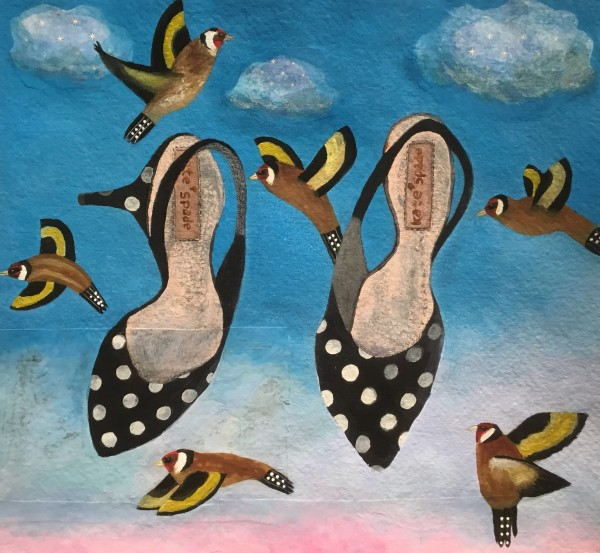 Gertie Young Goldfinches among the Kitten Heels watercolour, gouache & collage on card Artwork: 39 x 39cm
