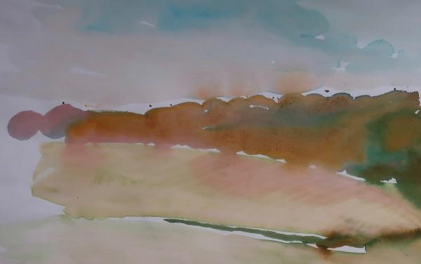 David Hamilton Inholmes Wood 2 watercolour on paper Frame: 40 x 50 cm Artwork: 21 x 32 cm